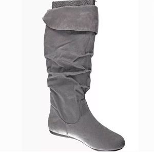 🆕Rampage Grey Faux Suede Scrunch Tall Boots
